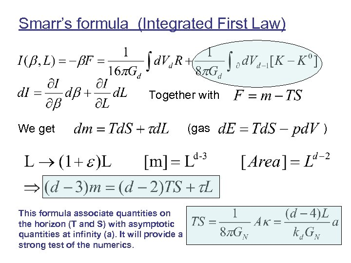 Smarr's formula (Integrated First Law) Together with We get This formula associate quantities on