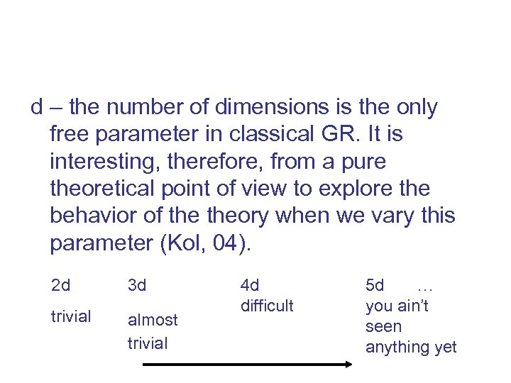d – the number of dimensions is the only free parameter in classical GR.