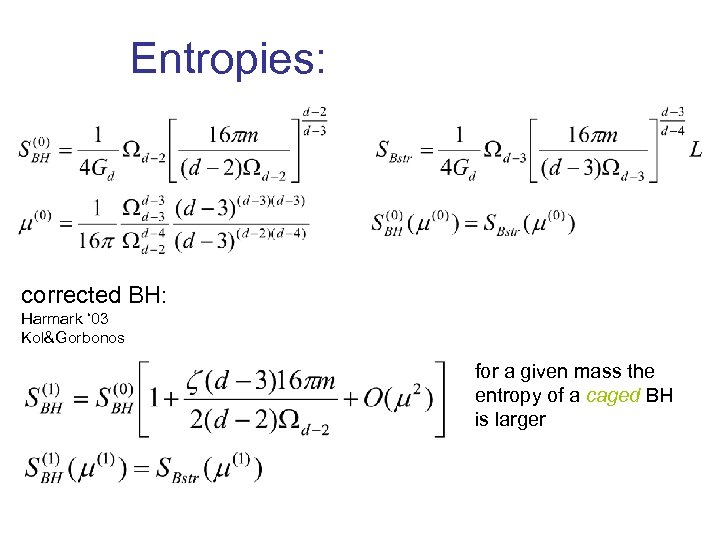 Entropies: corrected BH: Harmark ' 03 Kol&Gorbonos for a given mass the entropy of