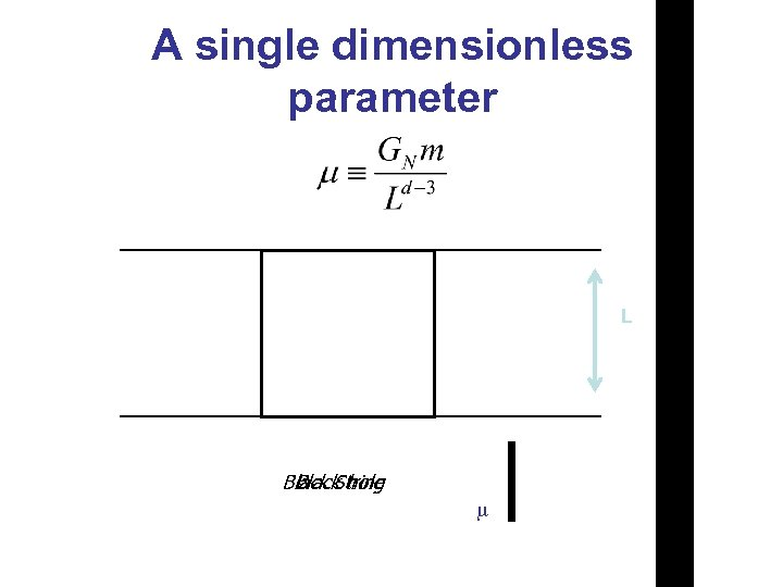 A single dimensionless parameter L Black String Black hole m