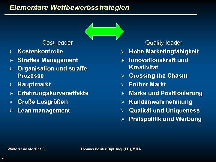 Elementare Wettbewerbsstrategien Ø Ø Ø Ø Cost leader Kostenkontrolle Straffes Management Organisation und straffe