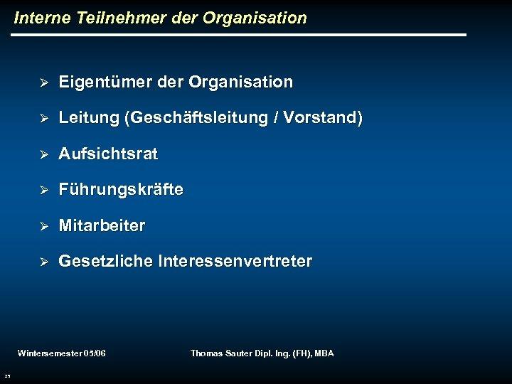 Interne Teilnehmer der Organisation Ø Eigentümer der Organisation Ø Leitung (Geschäftsleitung / Vorstand) Ø