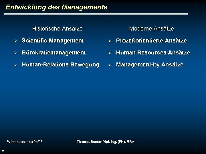 Entwicklung des Managements Historische Ansätze Moderne Ansätze Ø Scientific Management Ø Prozeßorientierte Ansätze Ø