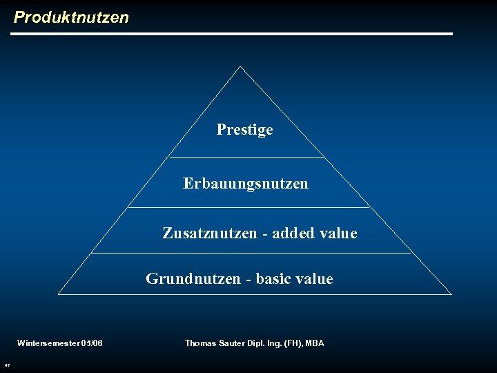 Produktnutzen Prestige Erbauungsnutzen Zusatznutzen - added value Grundnutzen - basic value Wintersemester 05/06 47