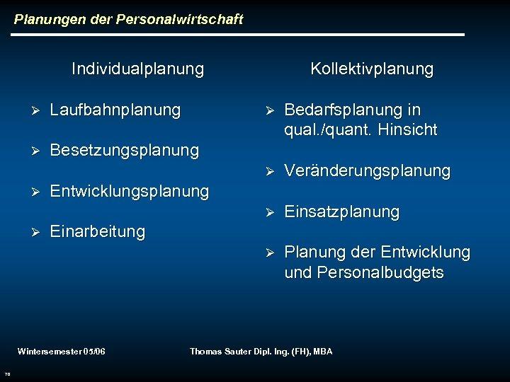 Planungen der Personalwirtschaft Individualplanung Ø Laufbahnplanung Ø Kollektivplanung Besetzungsplanung Einsatzplanung Ø Planung der Entwicklung