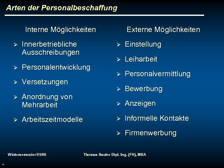 Arten der Personalbeschaffung Interne Möglichkeiten Ø Ø Versetzungen Anordnung von Mehrarbeit Arbeitszeitmodelle Einstellung Ø