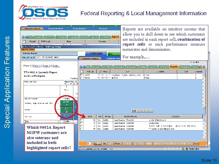 Special Application Features Federal Reporting & Local Management Information Reports are available on intuitive