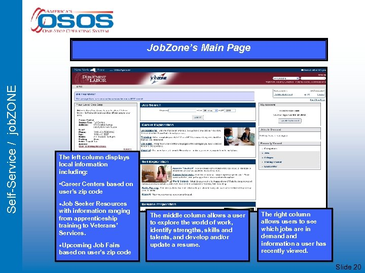Self-Service / job. ZONE Job. Zone's Main Page The left column displays local information