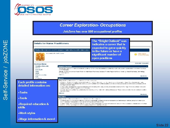 Career Exploration- Occupations Self-Service / job. ZONE Job. Zone has over 800 occupational profiles