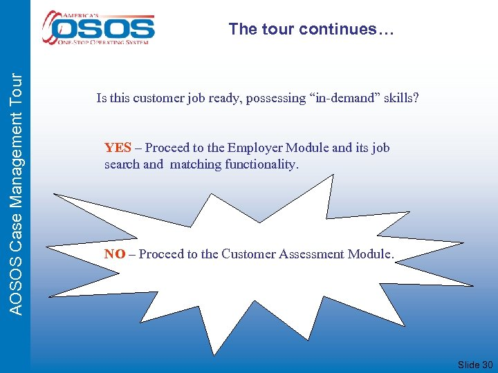 "AOSOS Case Management Tour The tour continues… Is this customer job ready, possessing ""in-demand"""