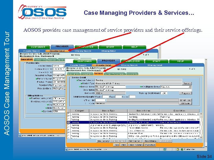 AOSOS Case Management Tour Case Managing Providers & Services… AOSOS provides case management of