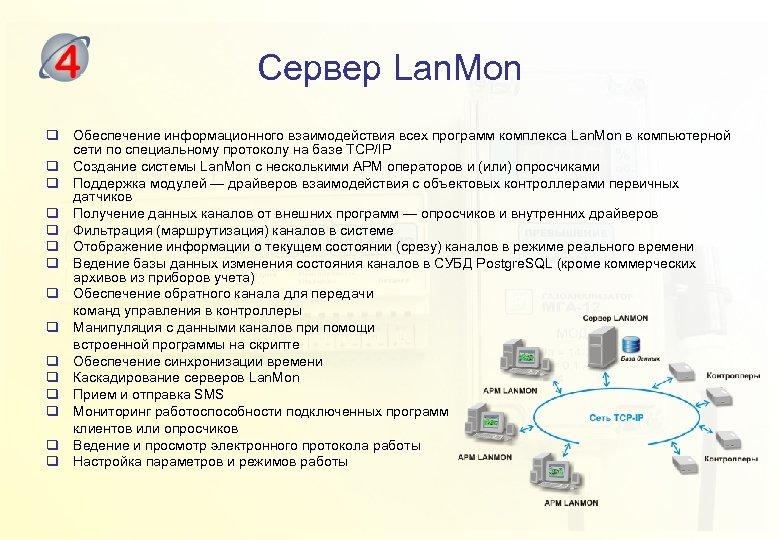 Сервер Lan. Mon q Обеспечение информационного взаимодействия всех программ комплекса Lan. Mon в компьютерной