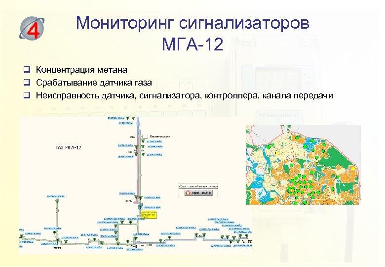 Мониторинг сигнализаторов МГА-12 q Концентрация метана q Срабатывание датчика газа q Неисправность датчика, сигнализатора,