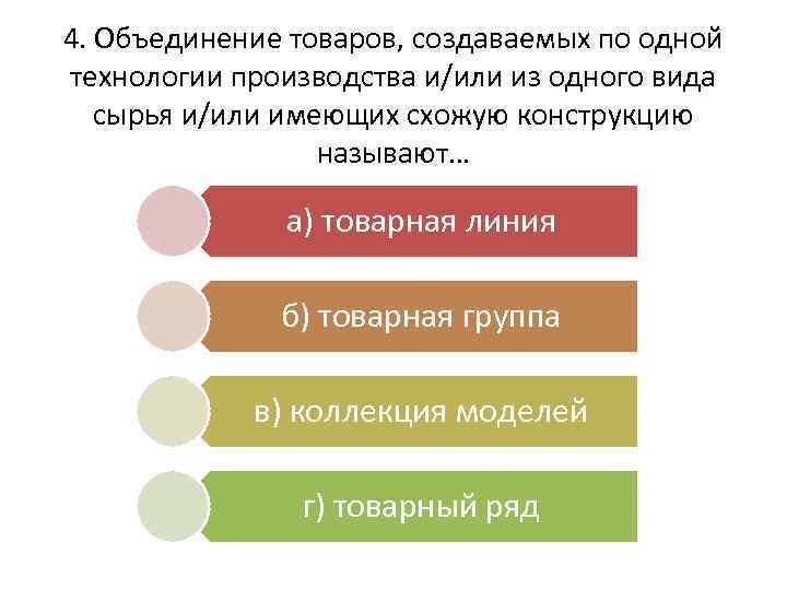 4. Объединение товаров, создаваемых по одной технологии производства и/или из одного вида сырья и/или