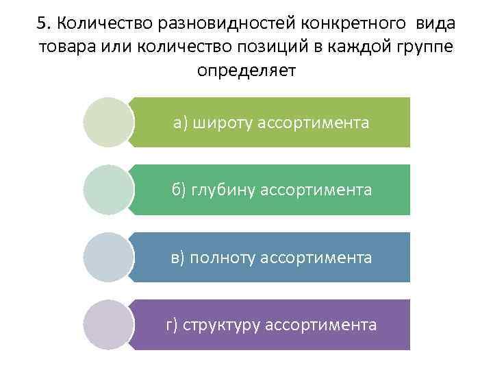 5. Количество разновидностей конкретного вида товара или количество позиций в каждой группе определяет а)