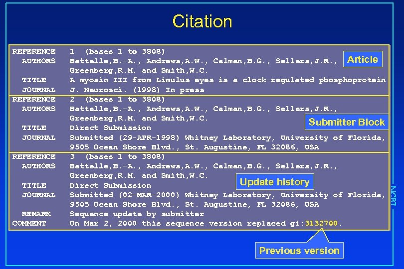 Citation REFERENCE AUTHORS TITLE JOURNAL REFERENCE AUTHORS REMARK COMMENT Previous version NCBI TITLE JOURNAL