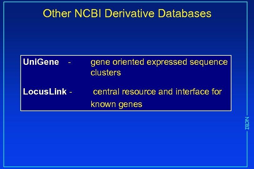 Other NCBI Derivative Databases Uni. Gene - Locus. Link - gene oriented expressed sequence
