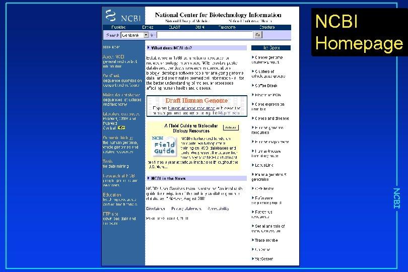 NCBI Homepage NCBI