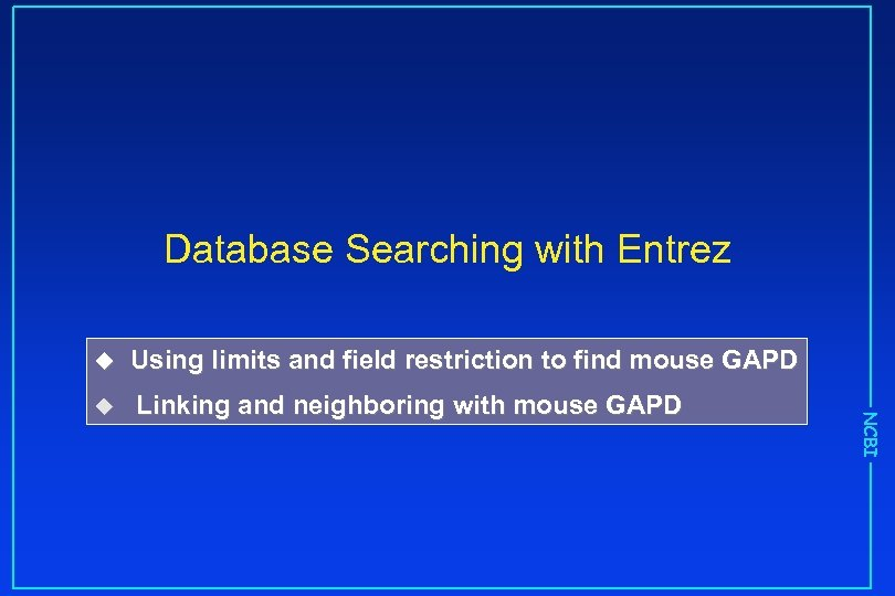 Database Searching with Entrez Using limits and field restriction to find mouse GAPD u