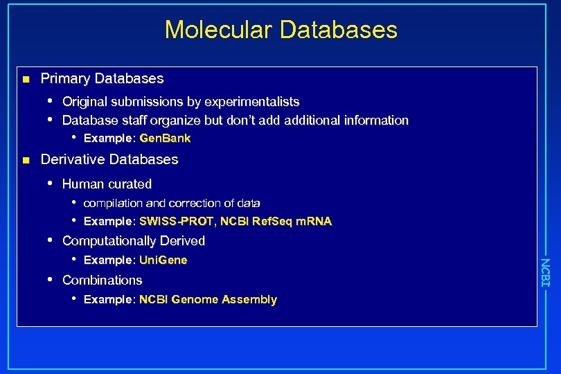 Molecular Databases n Primary Databases • • n Original submissions by experimentalists Database staff