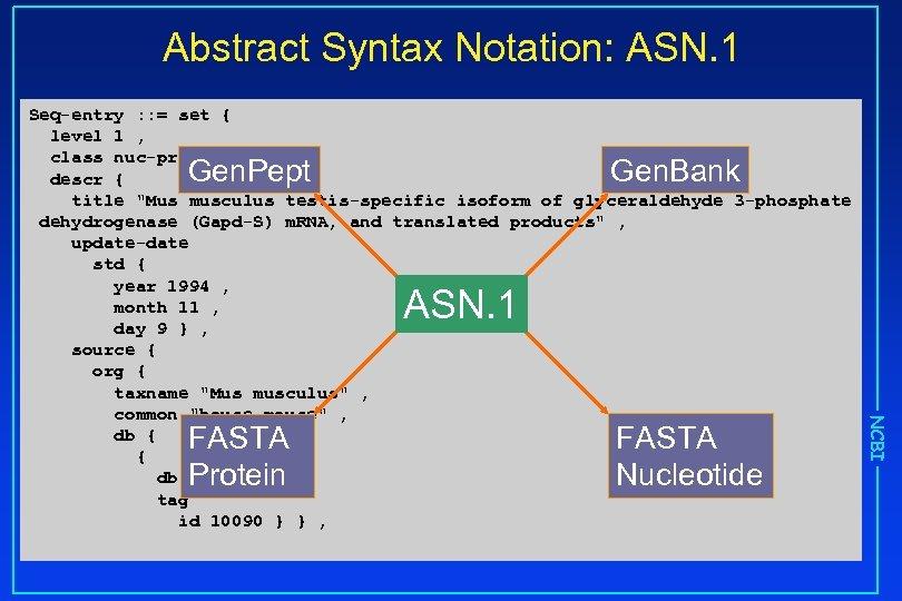 Abstract Syntax Notation: ASN. 1 Seq-entry : : = set { level 1 ,