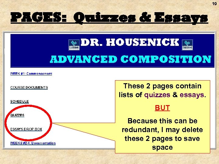 19 PAGES: Quizzes & Essays These 2 pages contain lists of quizzes & essays.