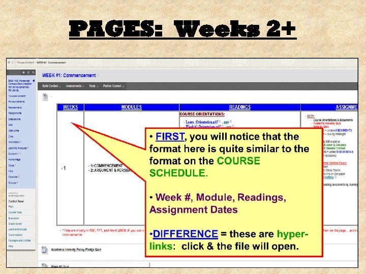 PAGES: Weeks 2+