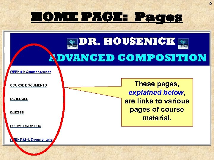 9 HOME PAGE: Pages These pages, explained below, are links to various pages of