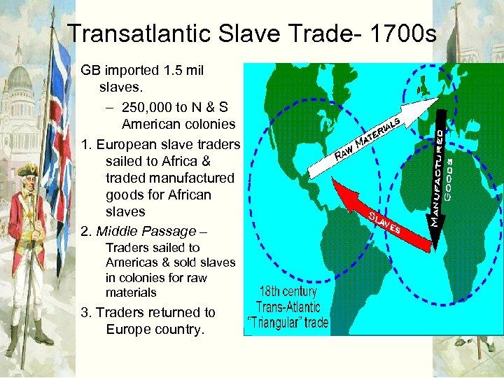 Transatlantic Slave Trade- 1700 s GB imported 1. 5 mil slaves. – 250, 000