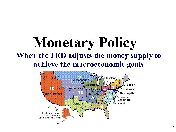 Monetary Policy When the FED adjusts the money supply to achieve the macroeconomic goals
