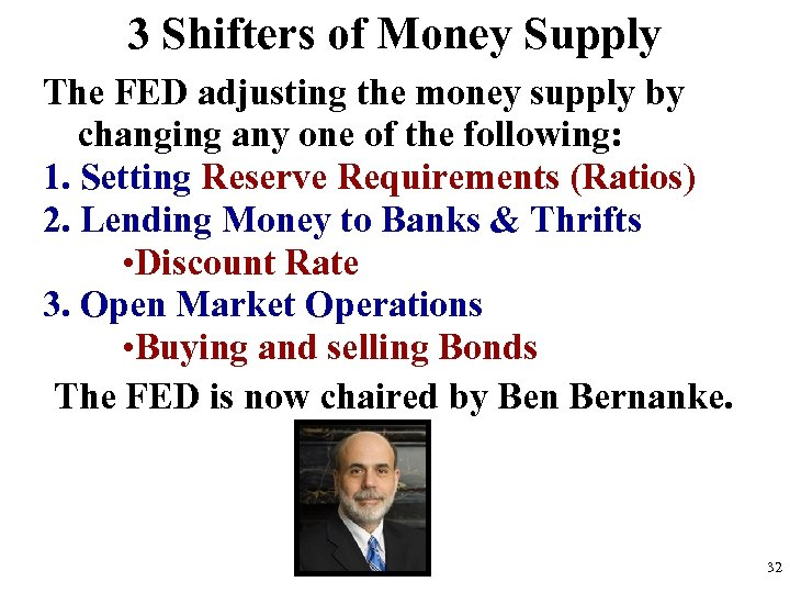 3 Shifters of Money Supply The FED adjusting the money supply by changing any