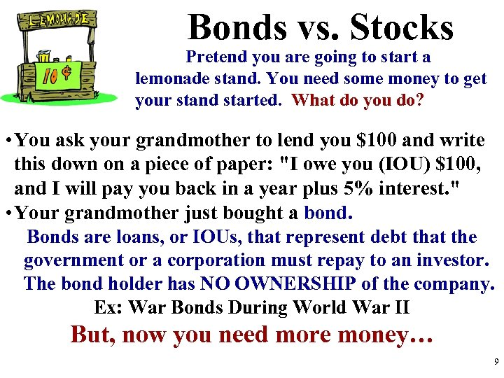 Bonds vs. Stocks Pretend you are going to start a lemonade stand. You need