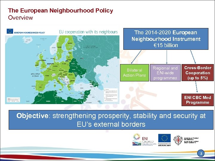 The European Neighbourhood Policy Overview The 2014 -2020 European Neighbourhood Instrument € 15 billion