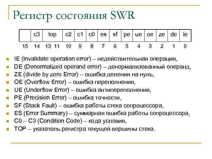Регистр состояния SWR c 3 15 n n n n n top 14 13