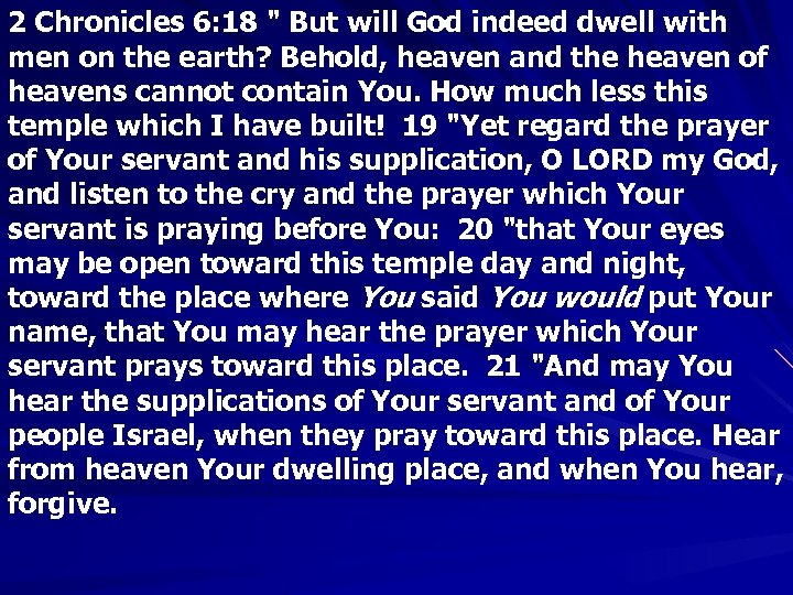 2 Chronicles 6: 18