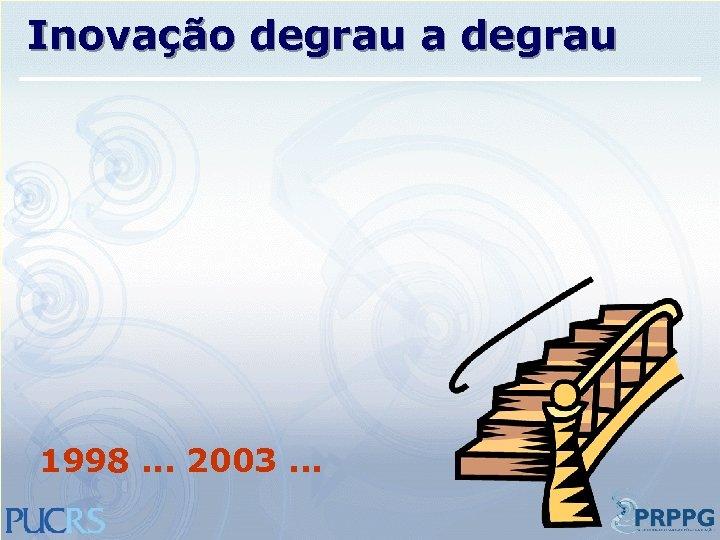 Inovação degrau a degrau 1998. . . 2003. . .