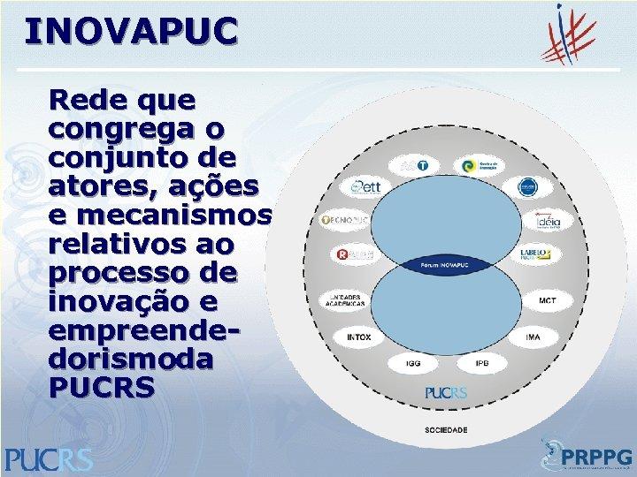 INOVAPUC Rede que congrega o conjunto de atores, ações e mecanismos relativos ao processo