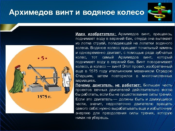 Архимедов винт и водяное колесо Идея изобретателя: Архимедов винт, вращаясь, поднимает воду в верхний