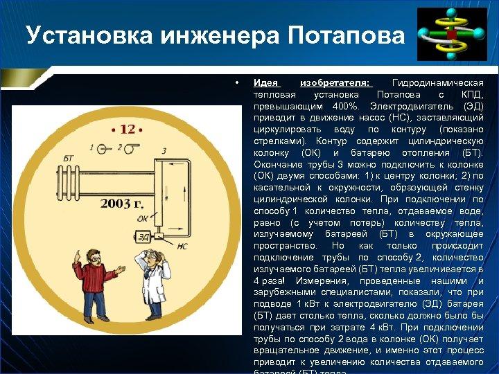 Установка инженера Потапова • Идея изобретателя: Гидродинамическая тепловая установка Потапова с КПД, превышающим 400%.