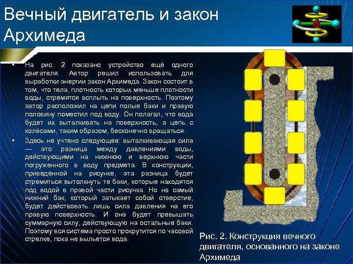 Вечный двигатель и закон Архимеда • • На рис. 2 показано устройство ещё одного