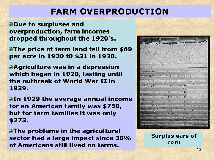 FARM OVERPRODUCTION Due to surpluses and overproduction, farm incomes dropped throughout the 1920's. The