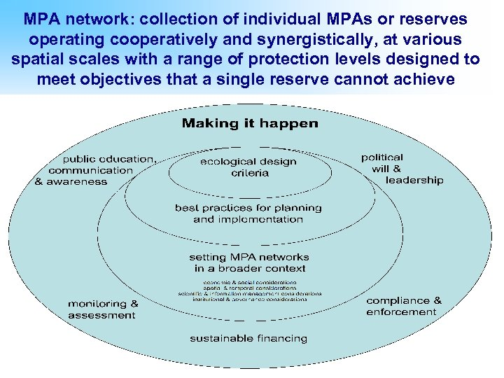 MPA network: collection of individual MPAs or reserves operating cooperatively and synergistically, at various