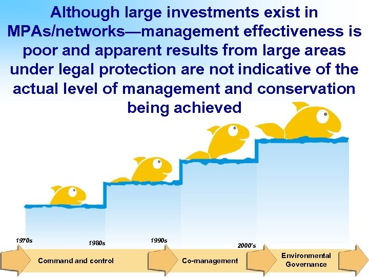 Although large investments exist in MPAs/networks—management effectiveness is poor and apparent results from large