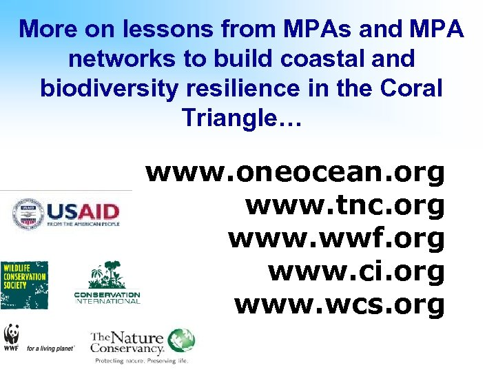 More on lessons from MPAs and MPA networks to build coastal and biodiversity resilience