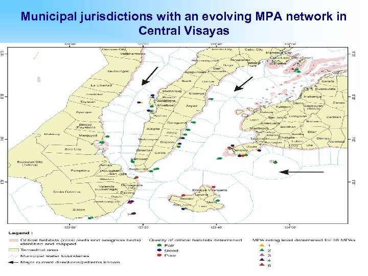 Municipal jurisdictions with an evolving MPA network in Central Visayas