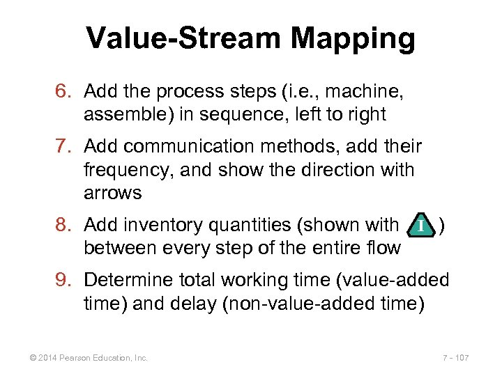 Value-Stream Mapping 6. Add the process steps (i. e. , machine, assemble) in sequence,