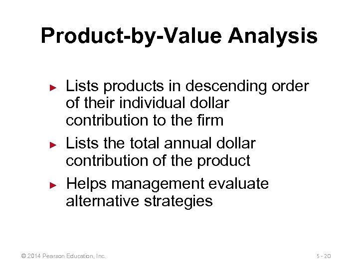 Product-by-Value Analysis ► ► ► Lists products in descending order of their individual dollar