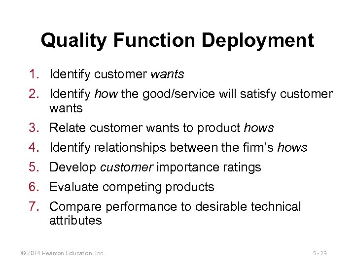 Quality Function Deployment 1. Identify customer wants 2. Identify how the good/service will satisfy