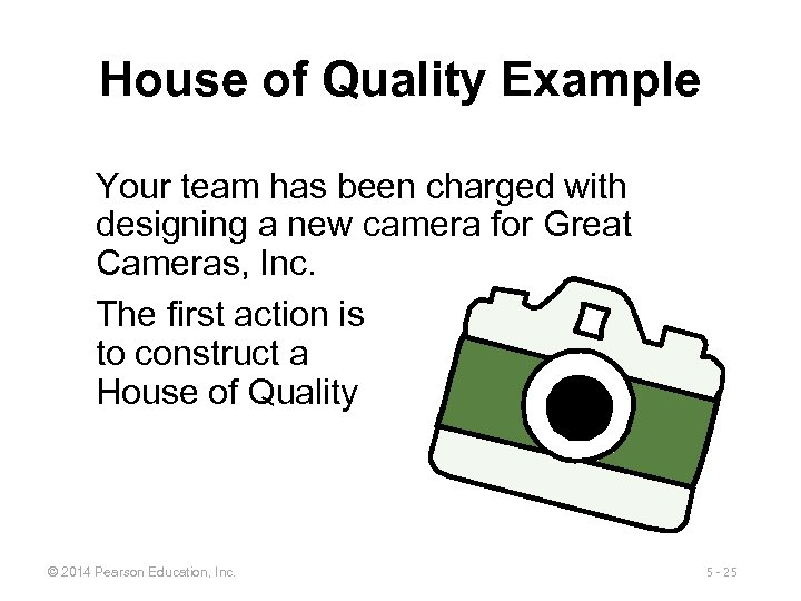 House of Quality Example Your team has been charged with designing a new camera