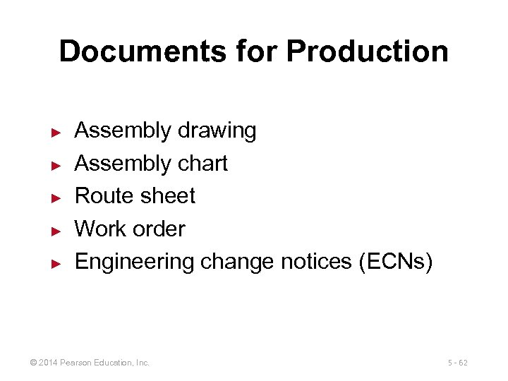 Documents for Production ► ► ► Assembly drawing Assembly chart Route sheet Work order